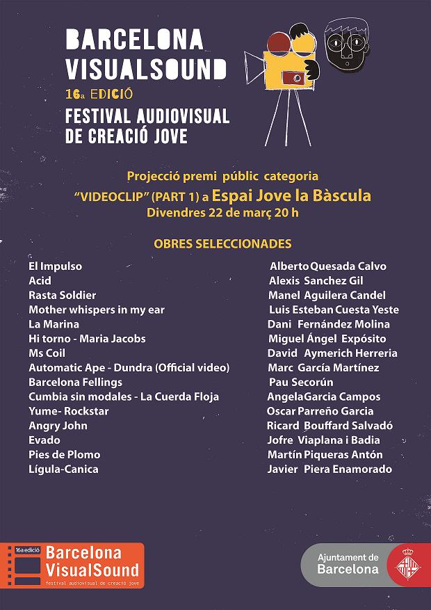Projecció i votació del Premi Públic categoria videoclip (1a part) @ Espai Jove La Bàscula